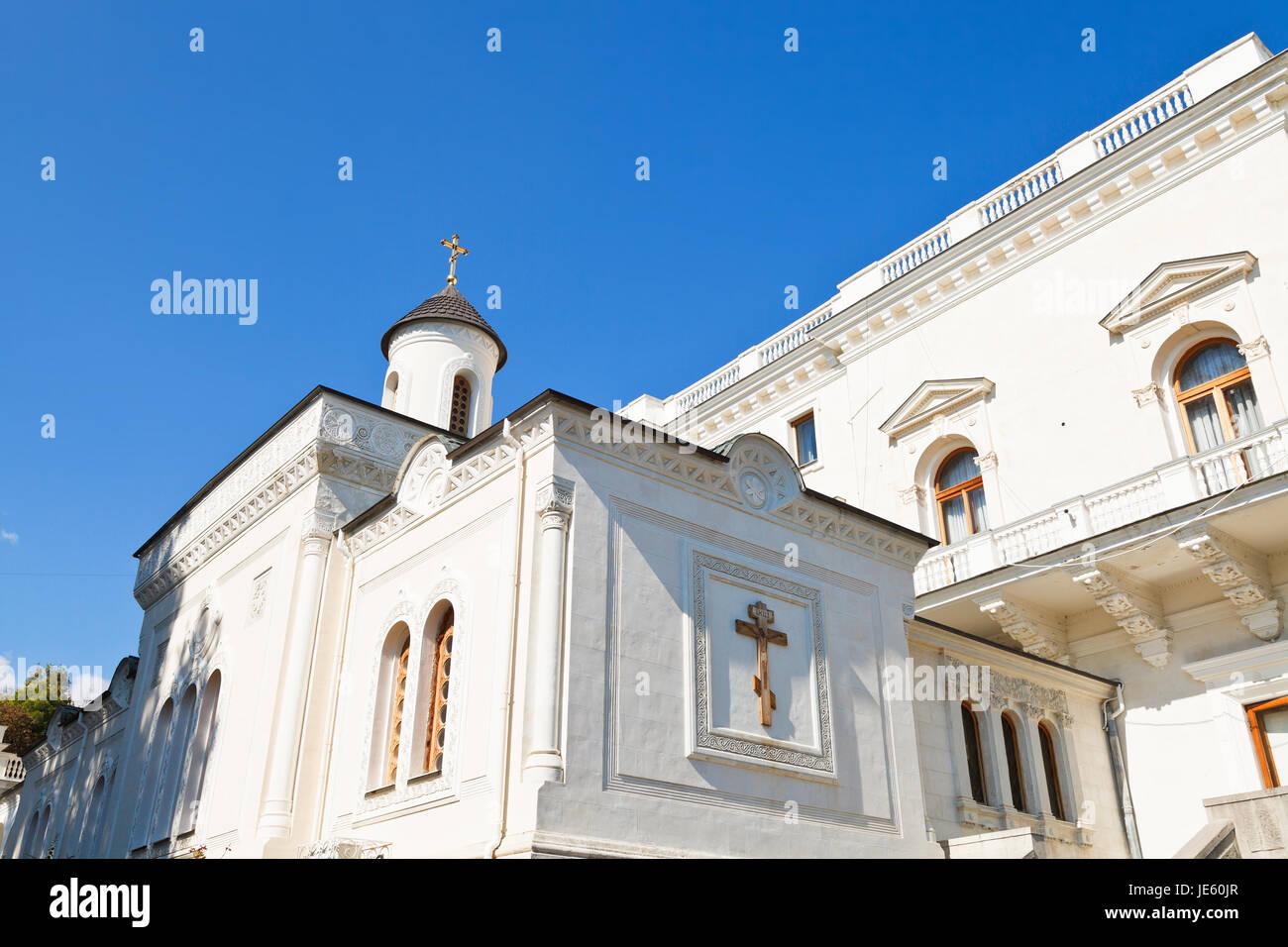 Cross Exaltation House (krestovozdvizhenskaya) Church of Livadiya Palace, Yalta - Stock Image