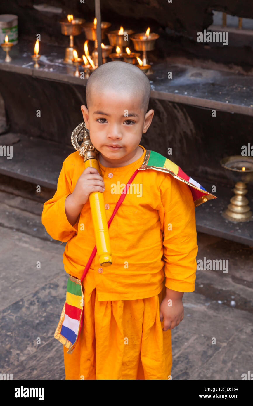 A Hindu Sadu Holy Man or Sadhu on the streets of Patan in Nepal, Nepal, Kathmandu Vally - Stock Image