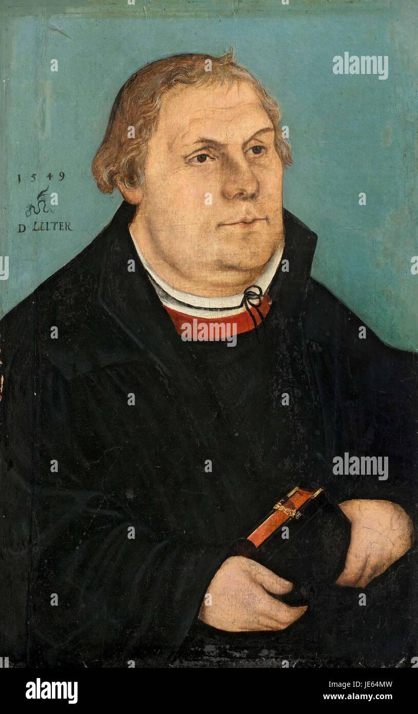 Lucas Cranach (II) - Bildnis Martin Luthers (1549) - Stock Image