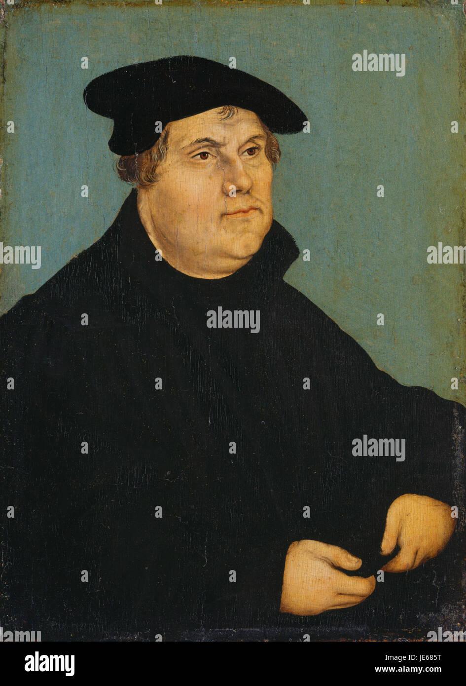 Lucas Cranach (I) - Bildnis Martin Luthers 1543 (Kassel) - Stock Image