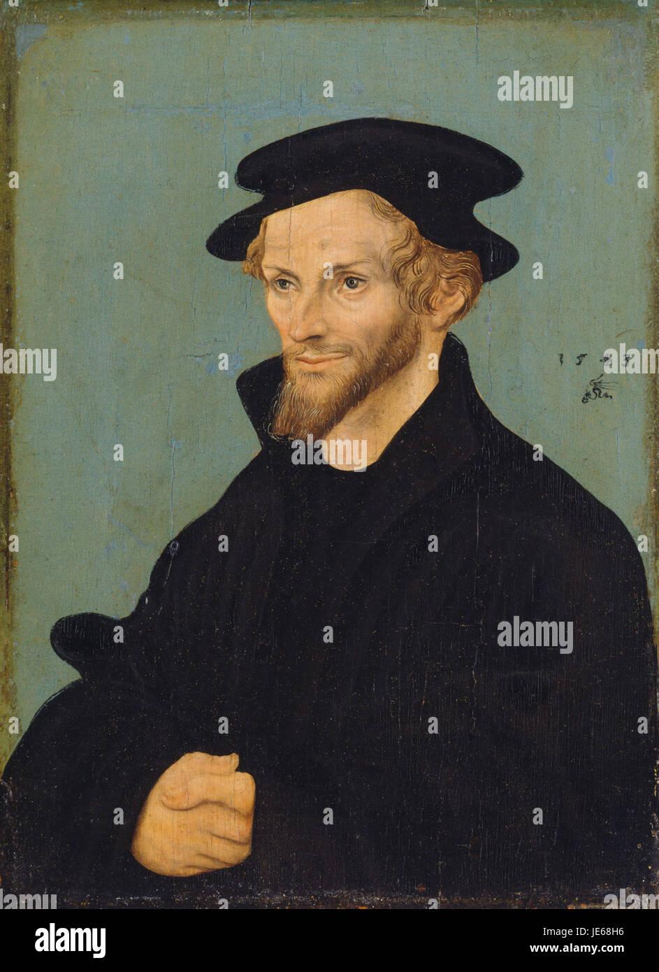 Lucas Cranach (I) - Bildnis Philipp Melanchthons 1543 (Kassel) - Stock Image