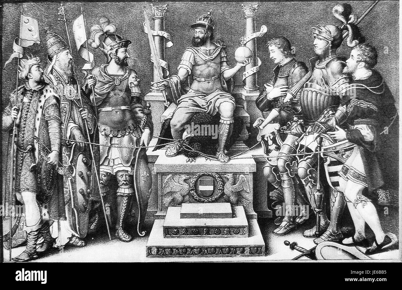 Charles V enthroned over his defeated enemies Giulio Clovio mid 16th century - Stock Image