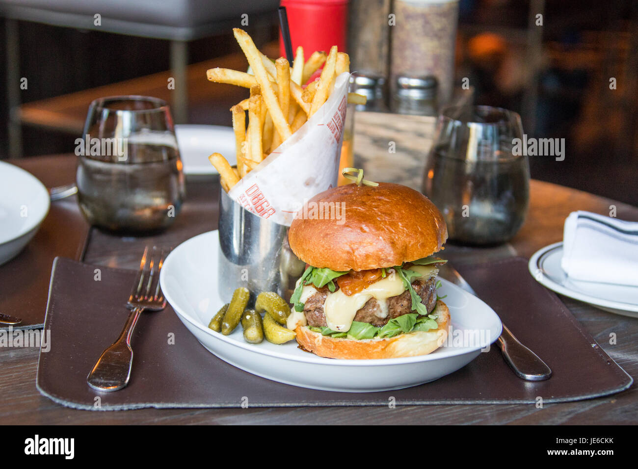 The Frenchiei Burger at DBGB Kitchen and Bar, East Village,  New York City - Stock Image