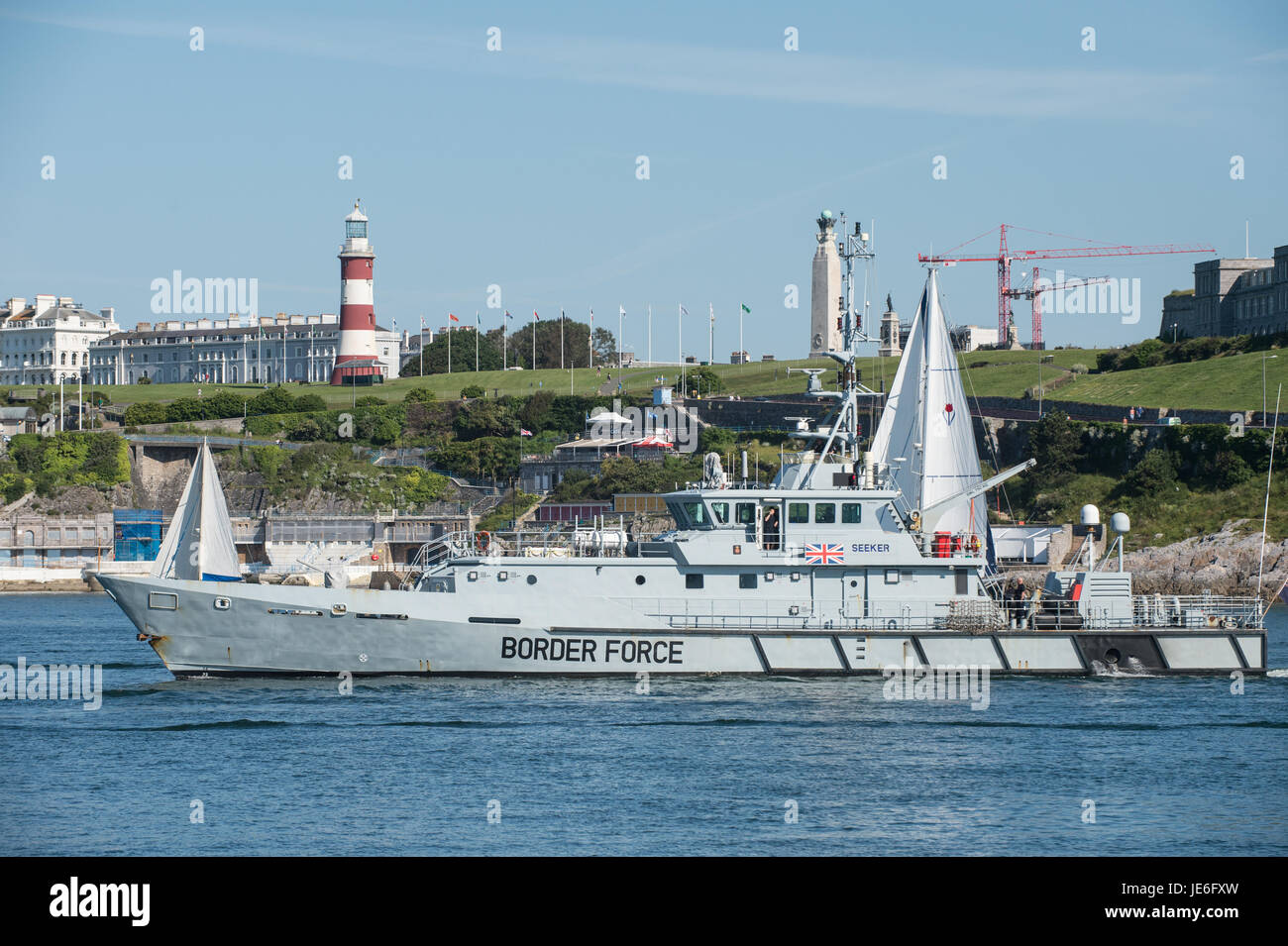 Paul Slater/PSI -  Border Force ship Seeker pictured in Plymouth Sound, Devon. - Stock Image