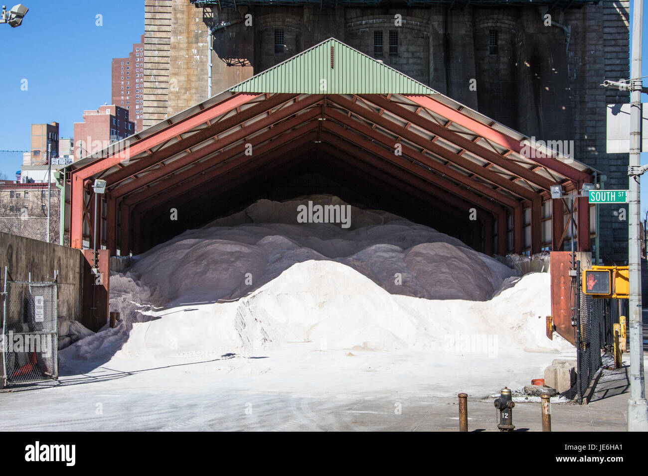Road salt, Manhattan, New York CIty, USA Stock Photo