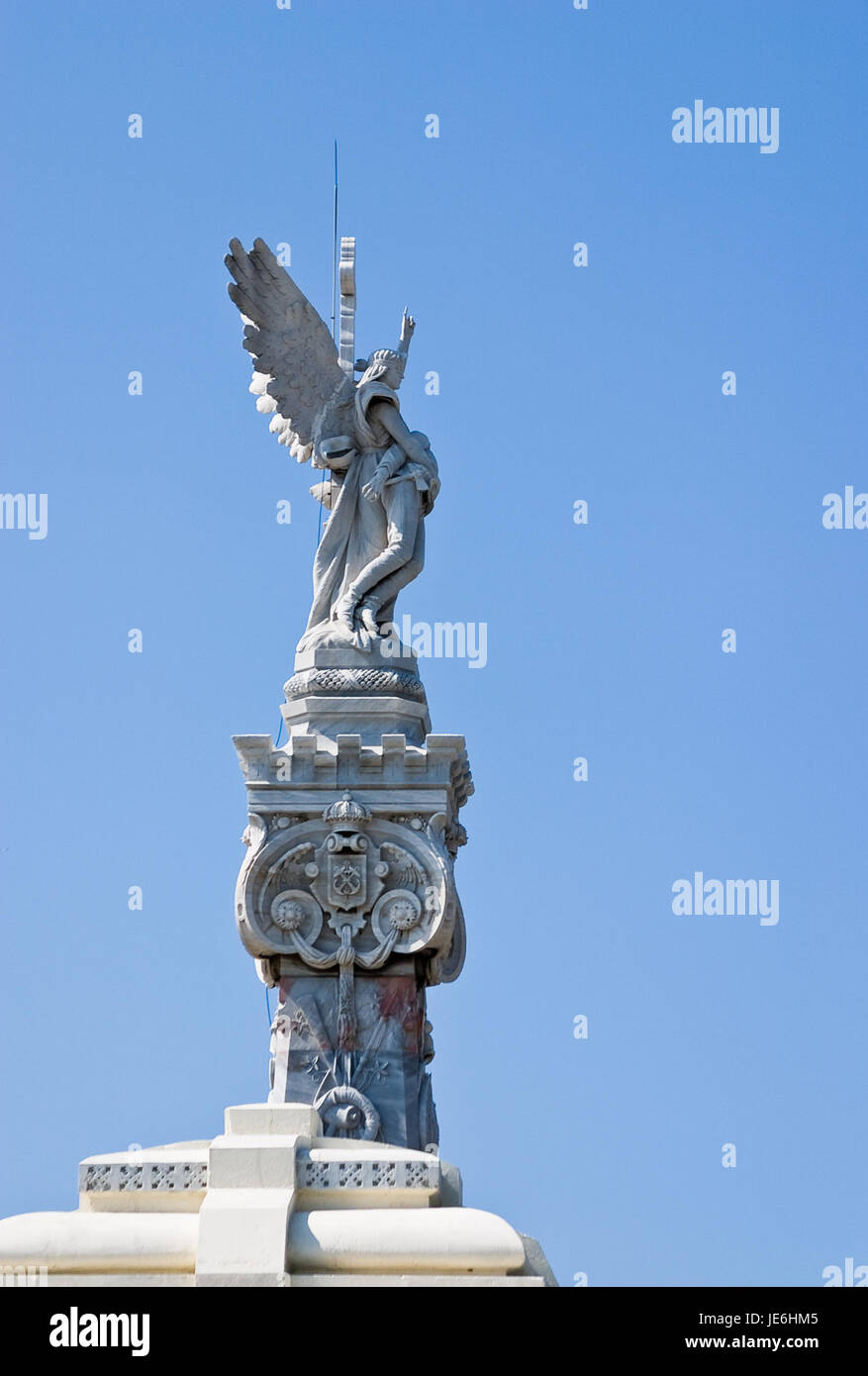 Detail of Monument to firefighters who died in the great fire of May 17, 1890. Colon cemetery, Havana, Cuba - Stock Image