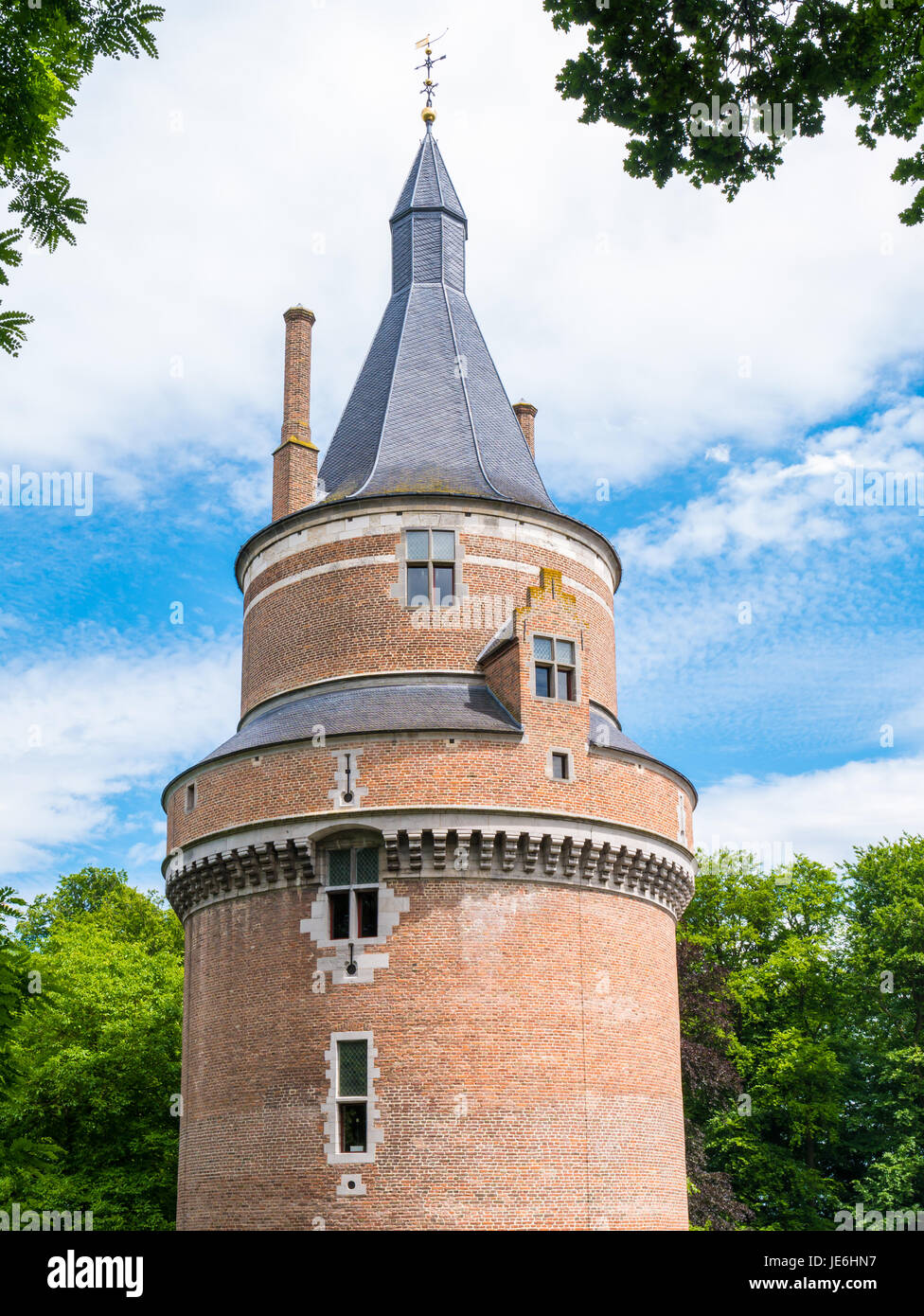 Top of Burgundian tower of Duurstede castle in Wijk bij Duurstede in province Utrecht, Netherlands Stock Photo