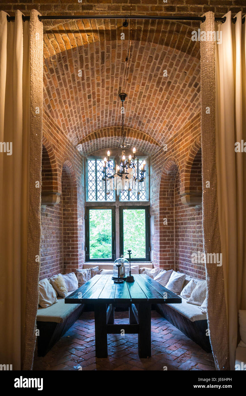 Tower room inside Burgundian tower of Duurstede castle in Wijk bij Duurstede in province Utrecht, Netherlands Stock Photo