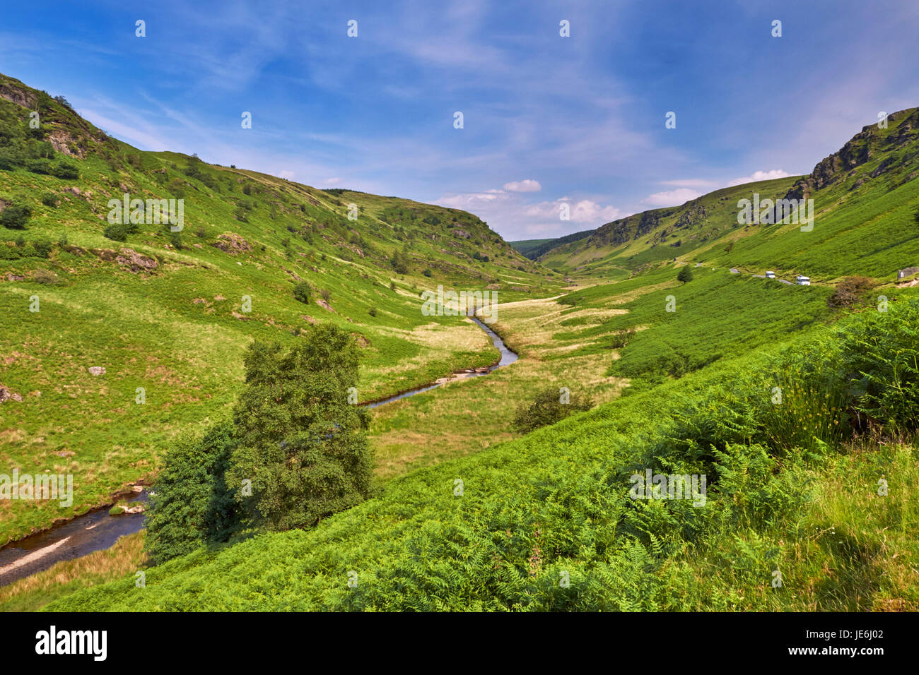 Camper vans on road in the Irfon Valley, north of Abergwesyn. Powys, Wales. - Stock Image