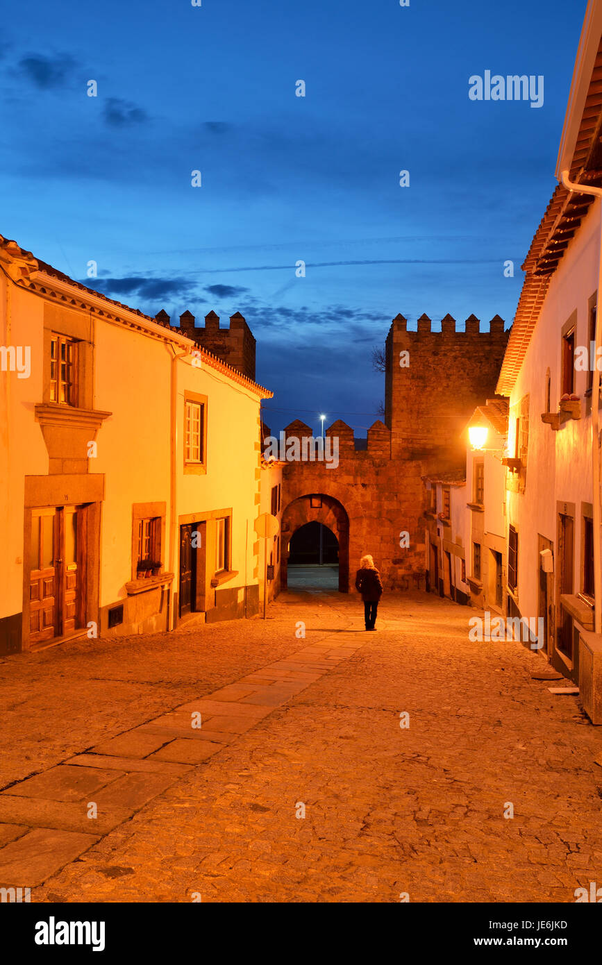 The medieval walled city of Miranda do Douro at twilight. Trás-os-Montes, Portugal Stock Photo