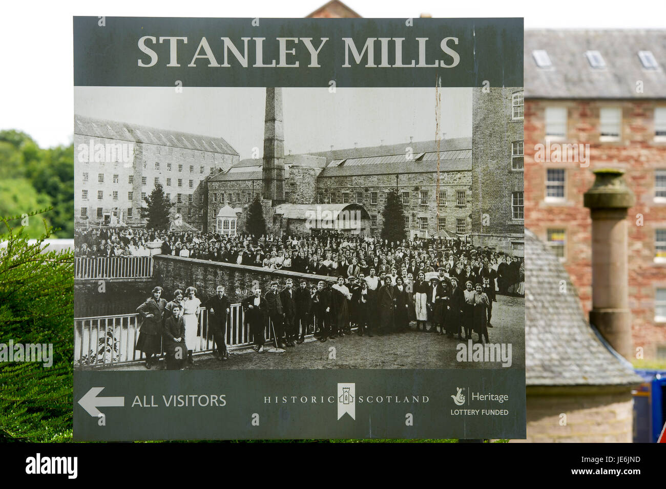 Sign outside  Stanley Mills, Perthshire, Scotland. Historic water powered cotton mill on the banks of the River - Stock Image