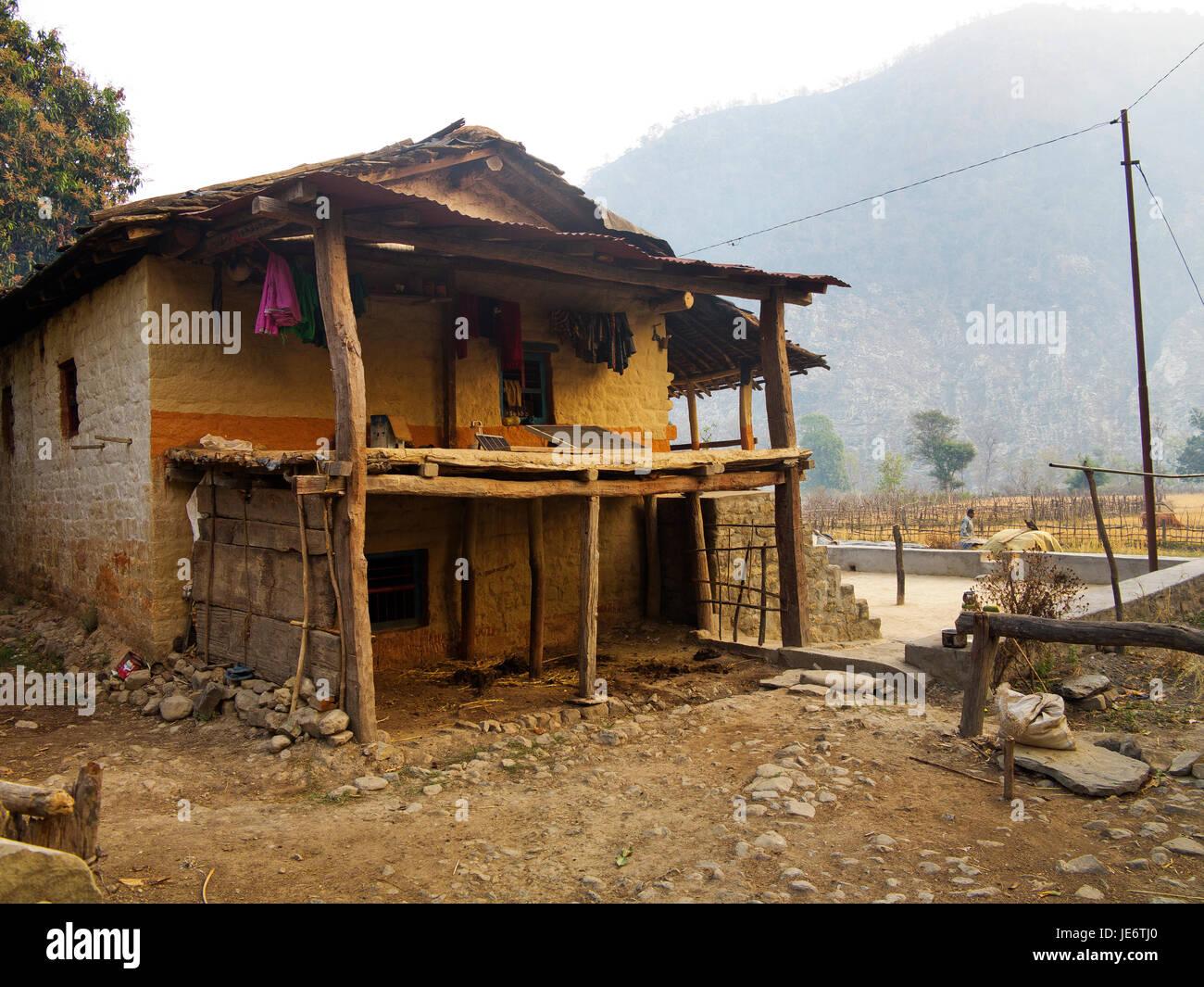 Simple House At Chuka Village On The Banks Of The Sarda River Made