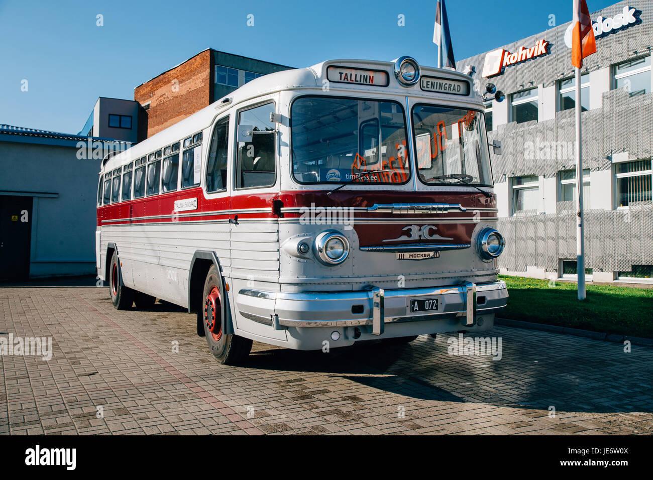 Old bus on the bus station Tallinn, Estonia, Baltic States Stock Photo