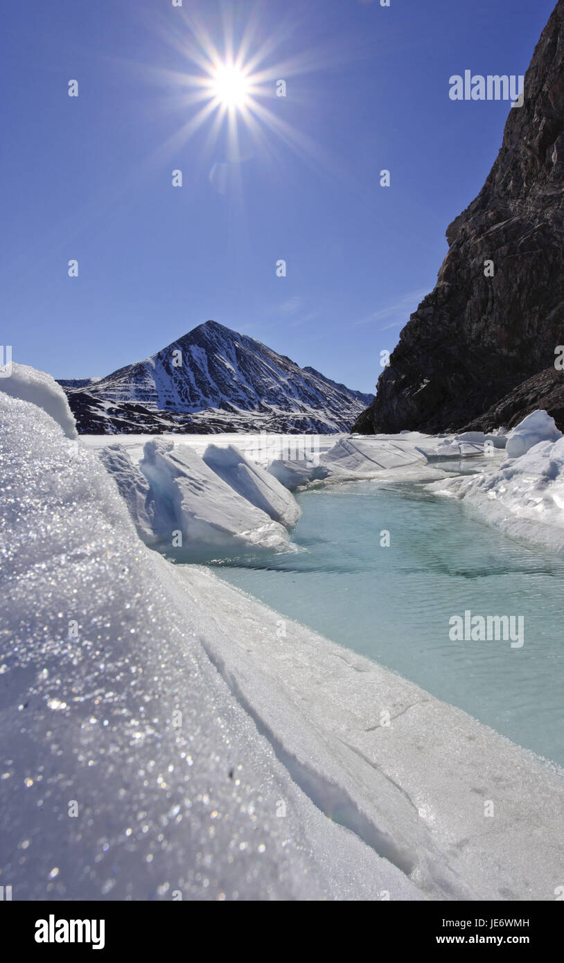 North America, Canada, Nordkanada, Nunavut, Baffin Iceland, Pond, Inlet, Eclipse sound, pack ice, - Stock Image