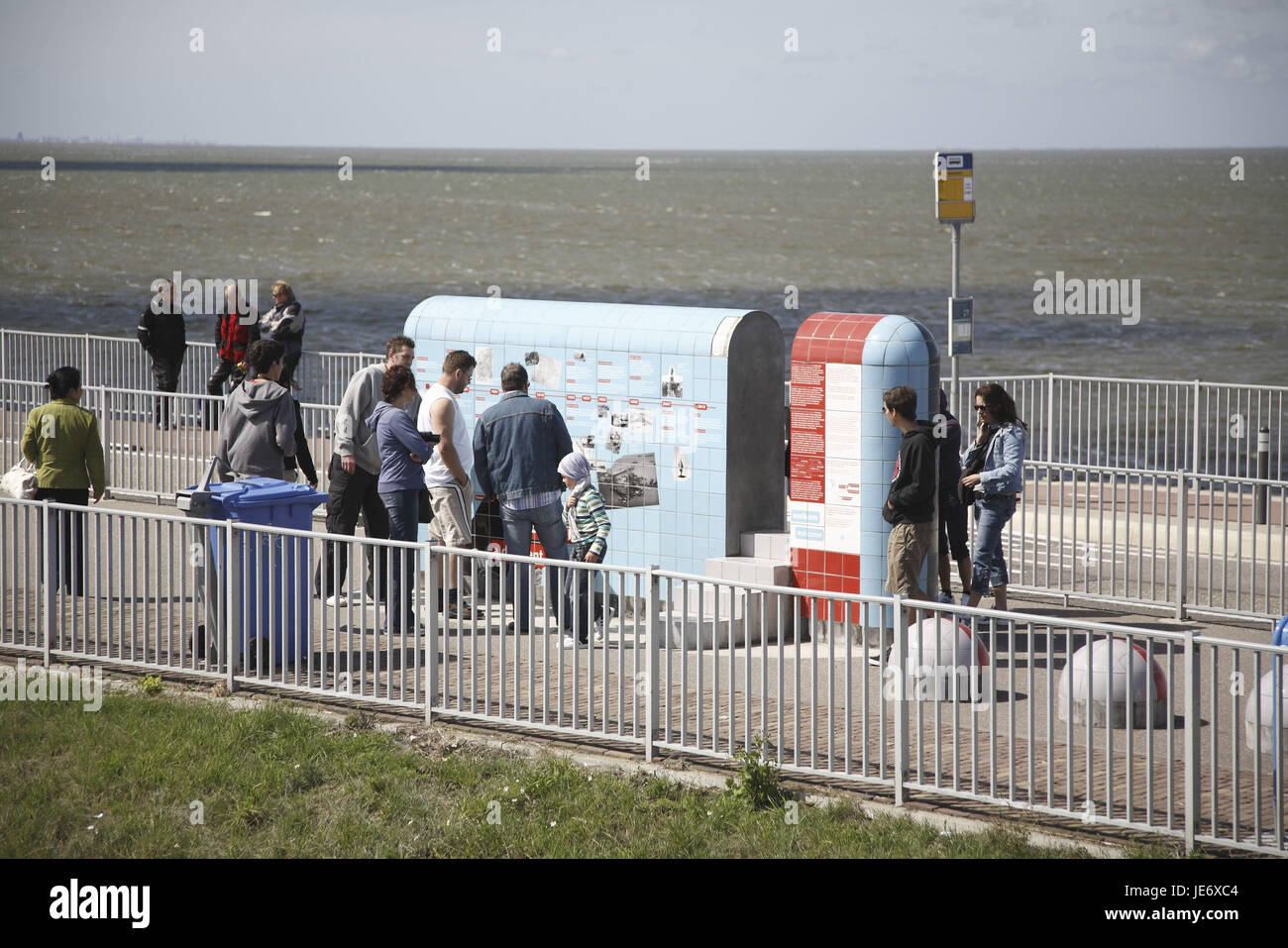 The Netherlands, conclusion dyke 'Afsluitdijk', tourists, - Stock Image
