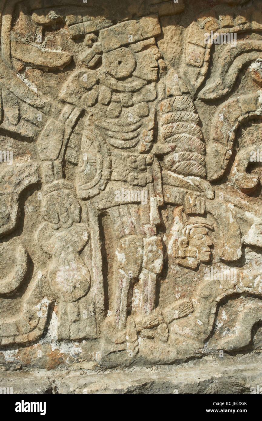 Mexico, Yucatan, Chichen Itza ruin town, UNESCO world heritage, historical Maya ruins, stone relief, - Stock Image