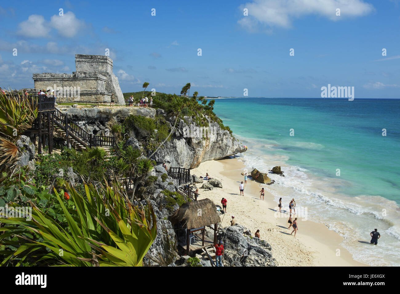 Mexico, Tulum, ruin site, historical Maya ruins, sea, beach, temple el Castillo, - Stock Image