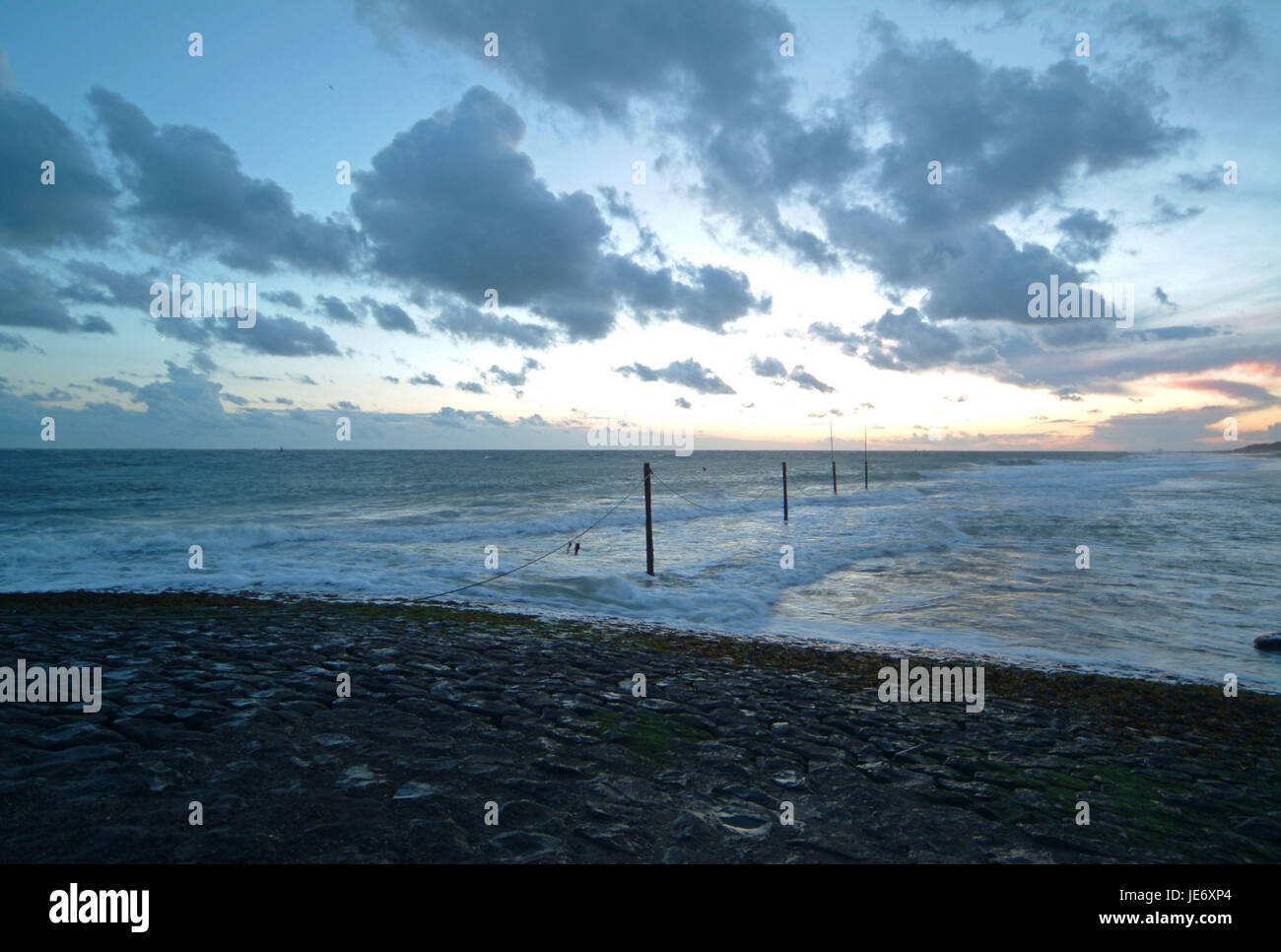 North Sea coast with cathedral castle, Walcheren, Holland, - Stock Image