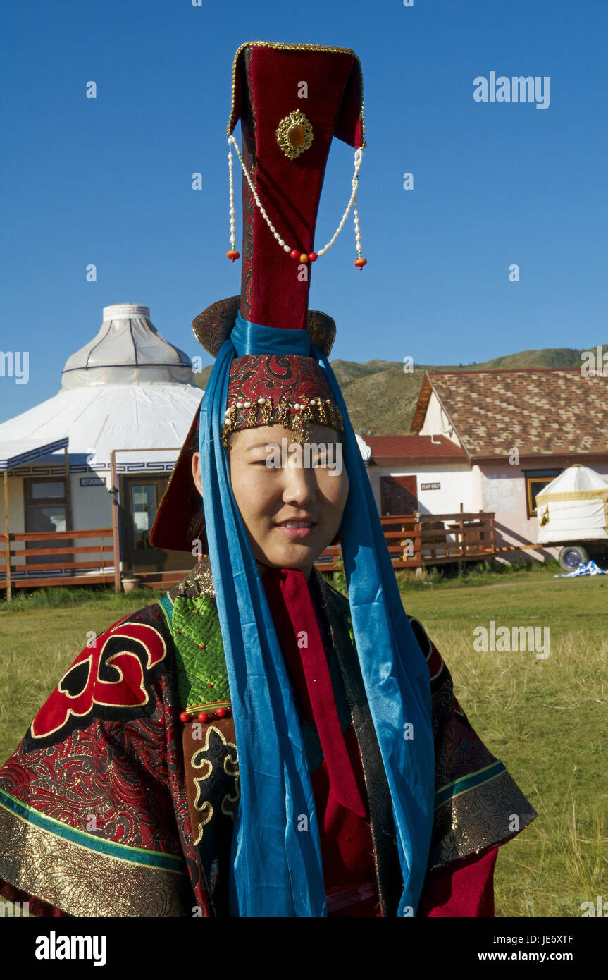 Mongolia, Central Asia, Ovorkhangai province, Orkhon valley, woman in traditional clothes, - Stock Image