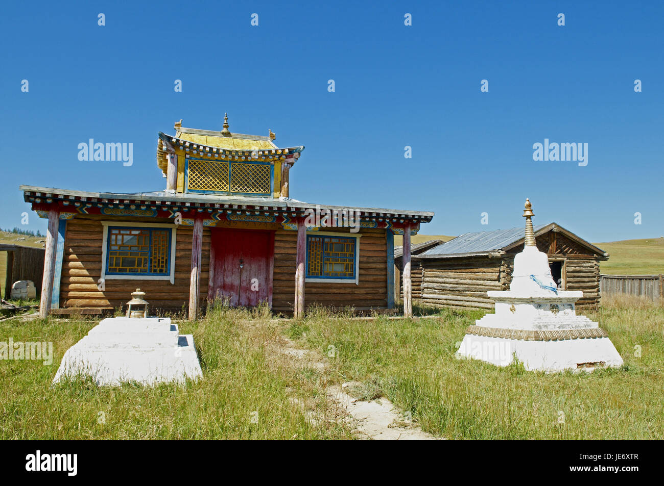 Mongolia, Central Asia, Ovorkhangai province, historical Orkhon valley, UNESCO world heritage, old Buddhist cloister, Stock Photo