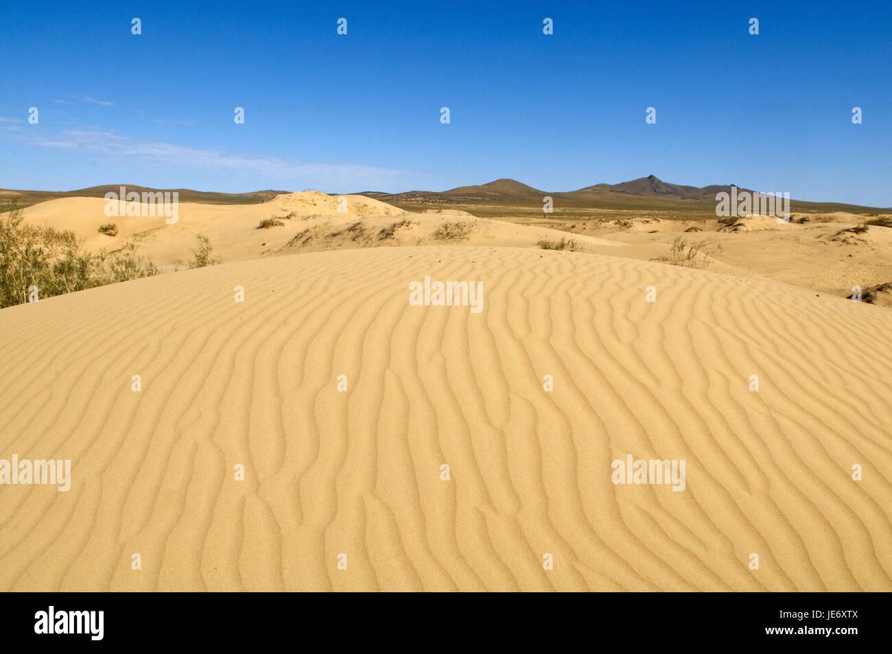 Mongolia, Central Asia, Ovorkhangai province, scenery, Sand dune, Mongolian steppe, Stock Photo