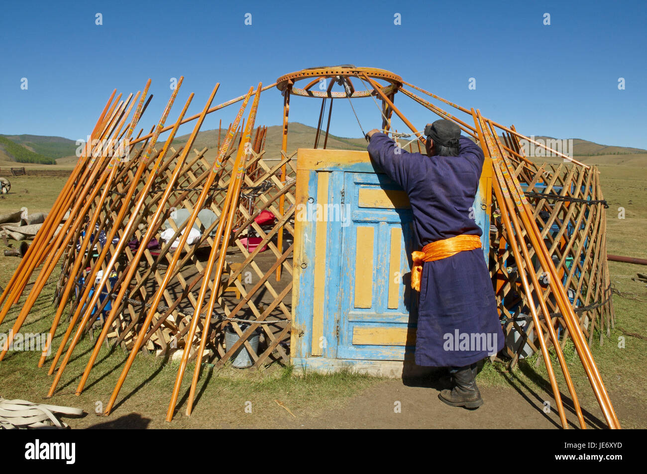 Mongolia, Central Asia, Arkhangai province, nomad, support, Jurte break down, - Stock Image