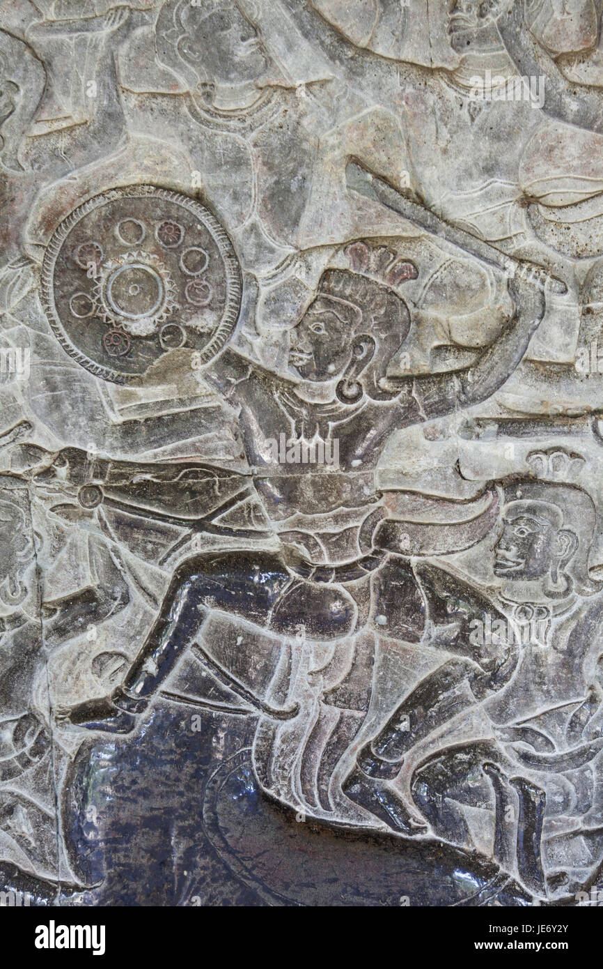 Cambodia, Siem Reap, Angkor Wat, grace note, relief, representation, scenes from the Ramayana epic, - Stock Image