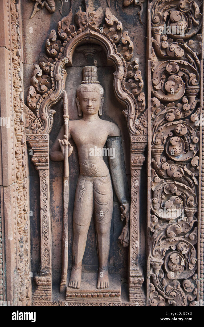 Cambodia, Siem Reap, Angkor, Banteay Srei temple, grace note, relief, - Stock Image