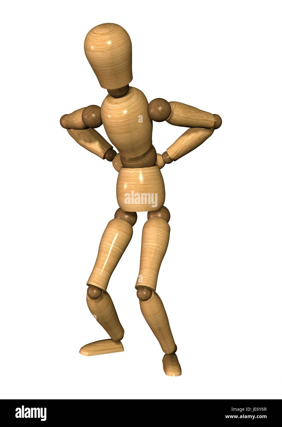 Manikin, position, back pains, - Stock Image