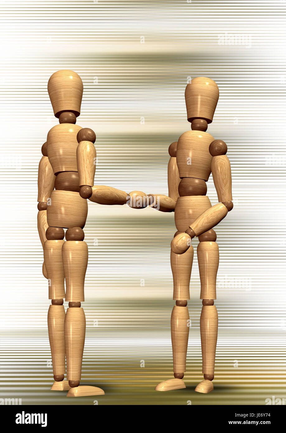 Manikins with the handshake, - Stock Image