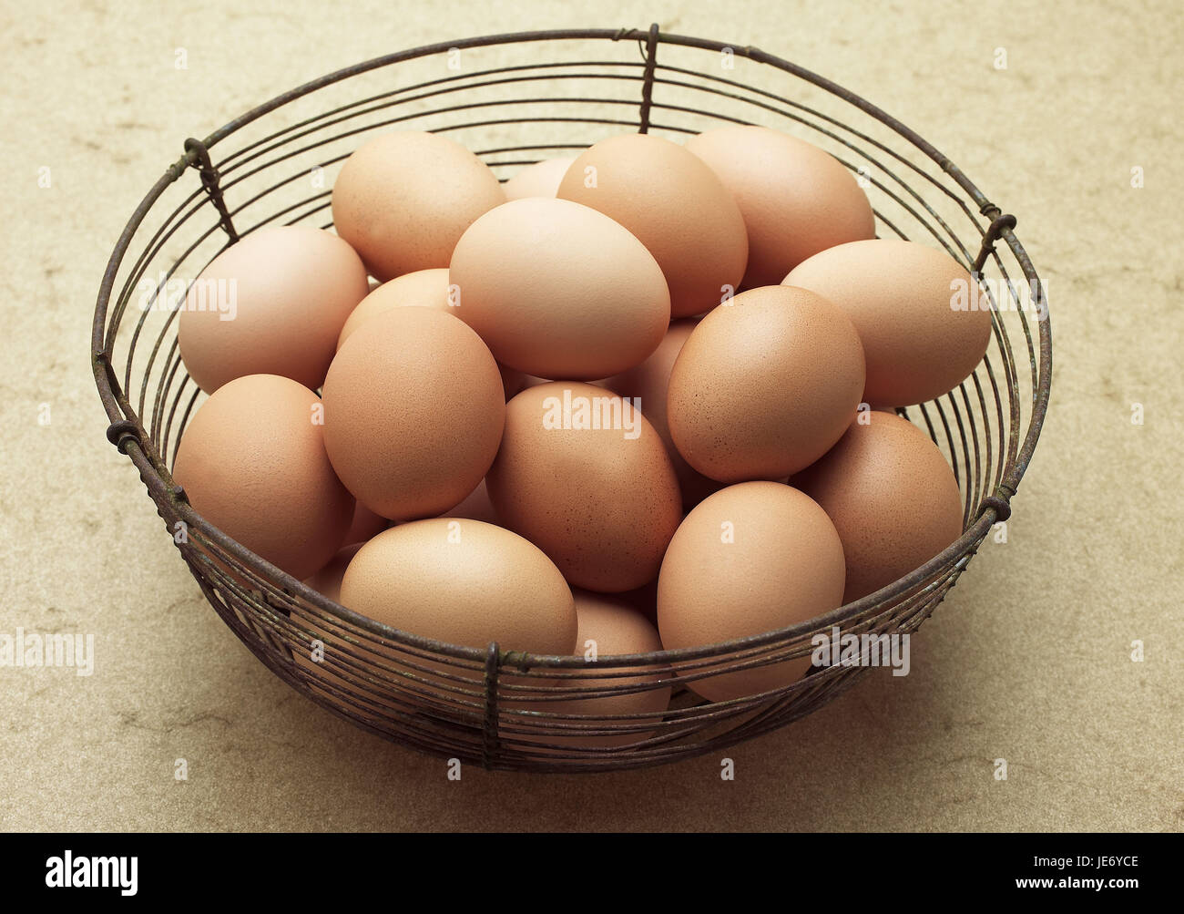 Poultry eggs, basket, - Stock Image