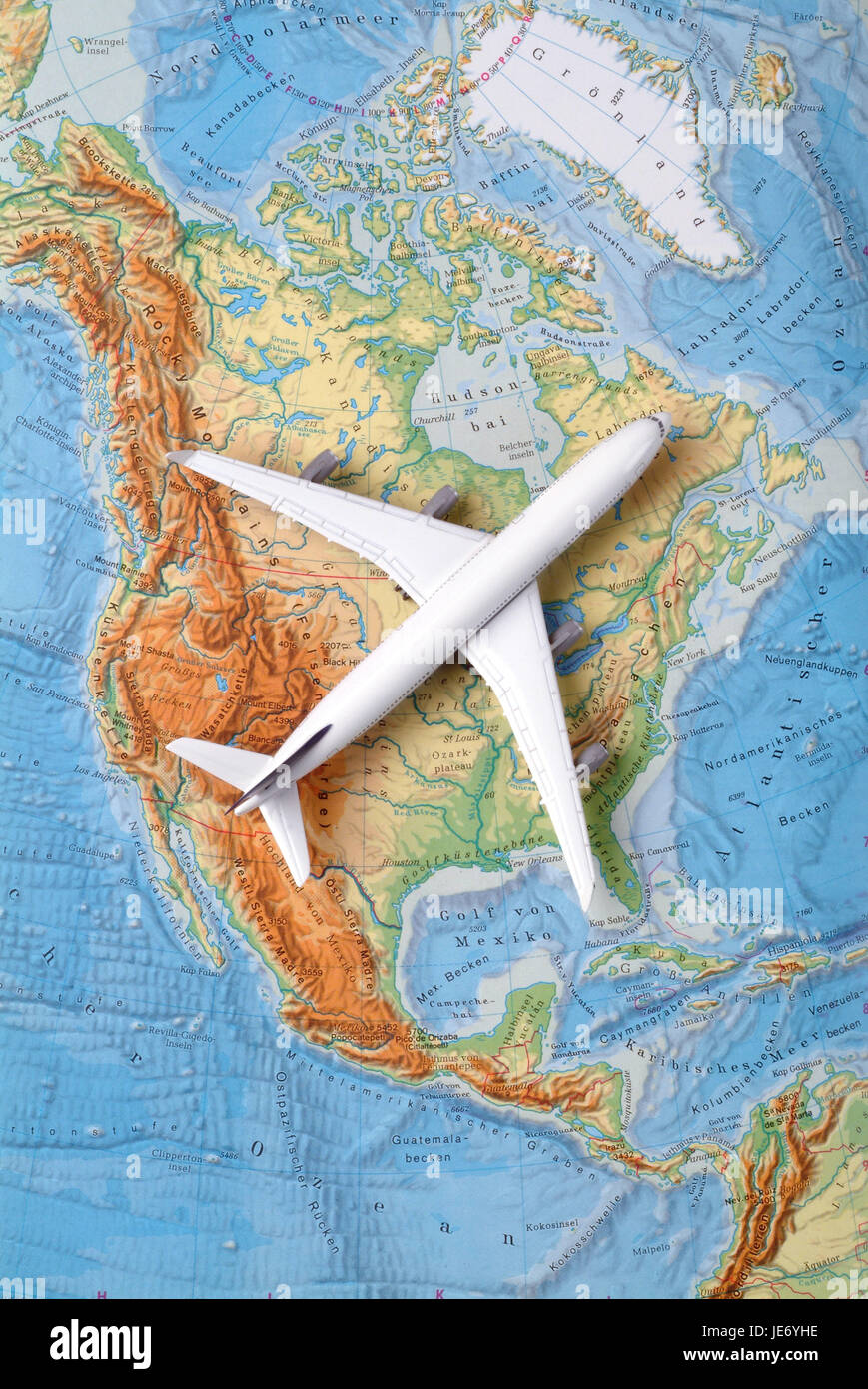 Airplane on a map of the USA, North America, Canada Stock Photo ...