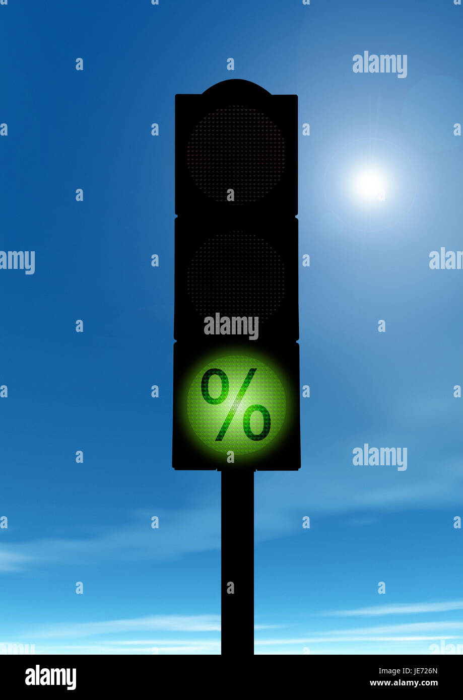 Green traffic light with percent sign, Stock Photo