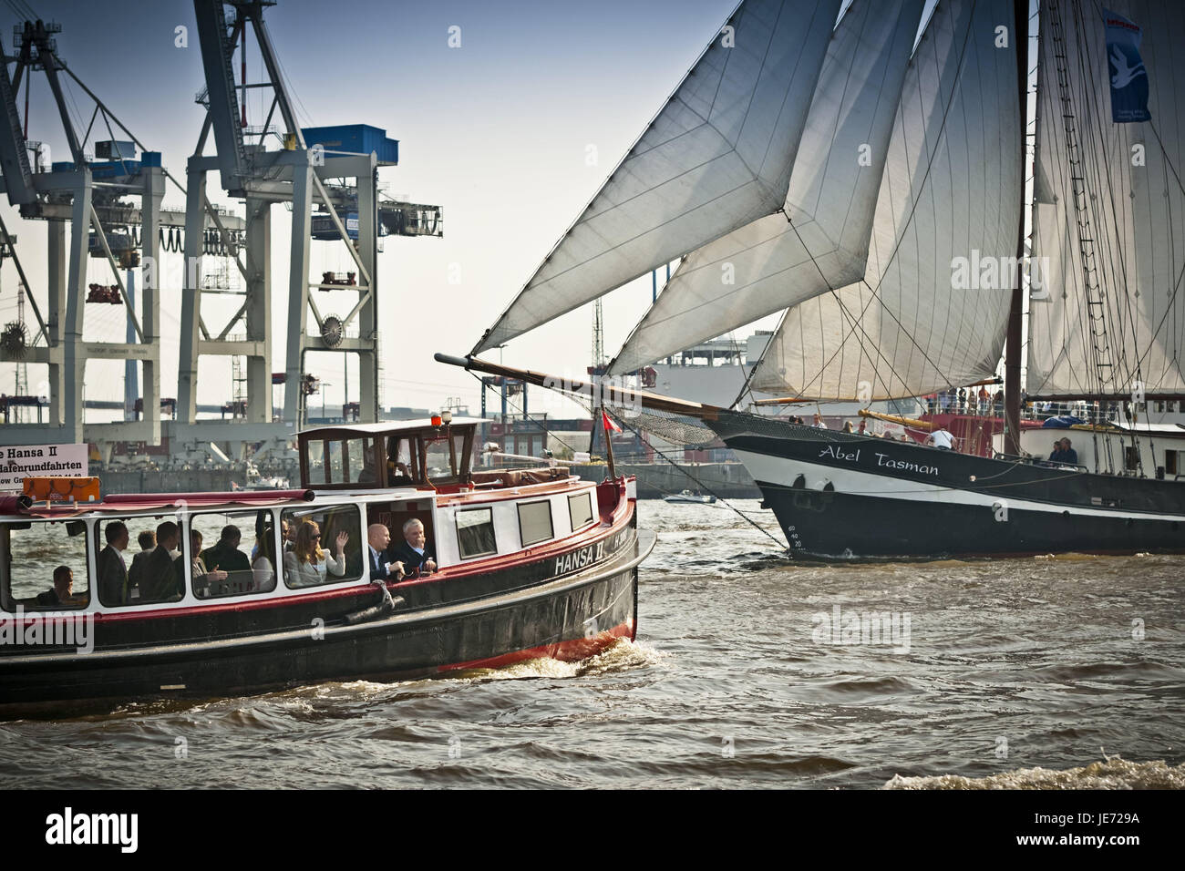 Germany, Hamburg, the Elbe, harbour, harbour birthday, bedding-in save in 2011, attraction, longboat, visitor, boat, - Stock Image