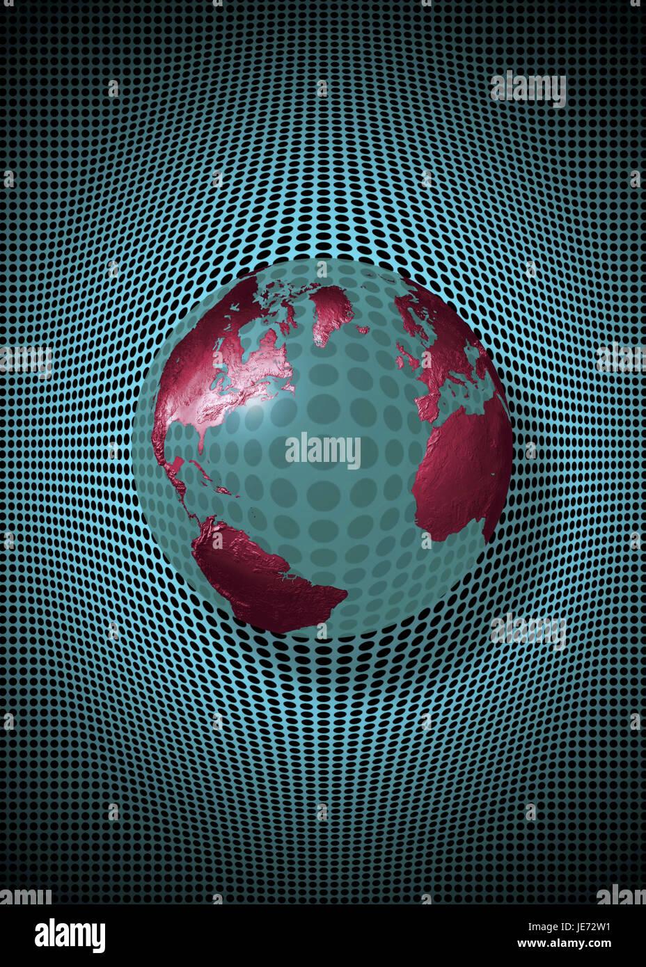 Globe, transparent, hole sample, - Stock Image
