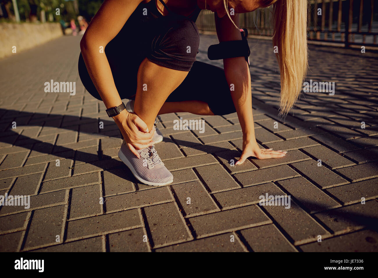 Trauma to the foot of the runner - Stock Image