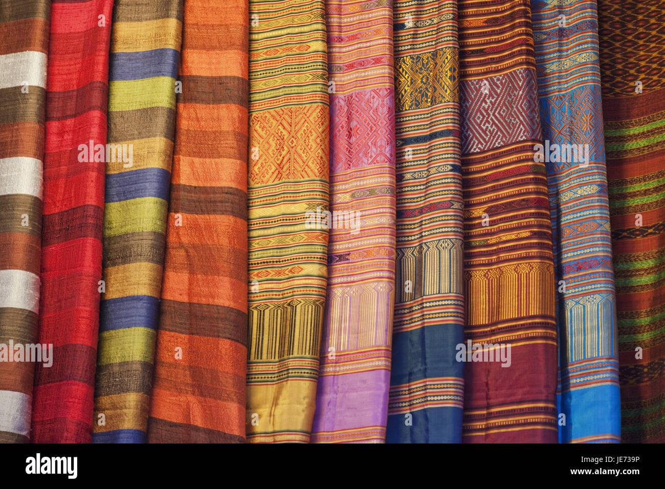 Cambodia, Siem Reap, Old Market, substance business and silk business, silk cloths, sales, - Stock Image