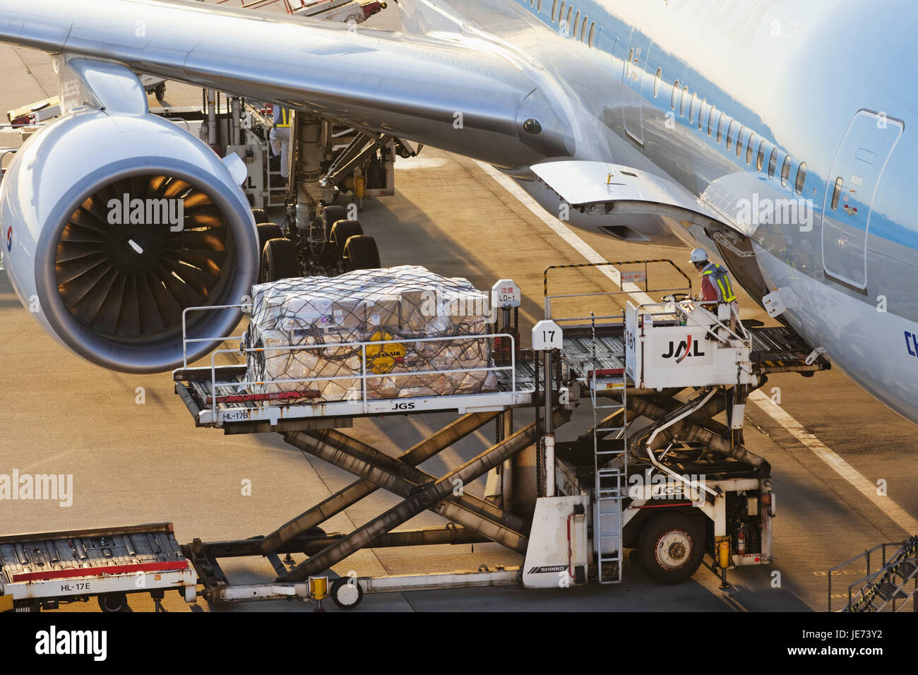Japan, Tokyo, Narita Internationally airport, landing field, airplane, loading, airport, outside, travel, journey - Stock Image