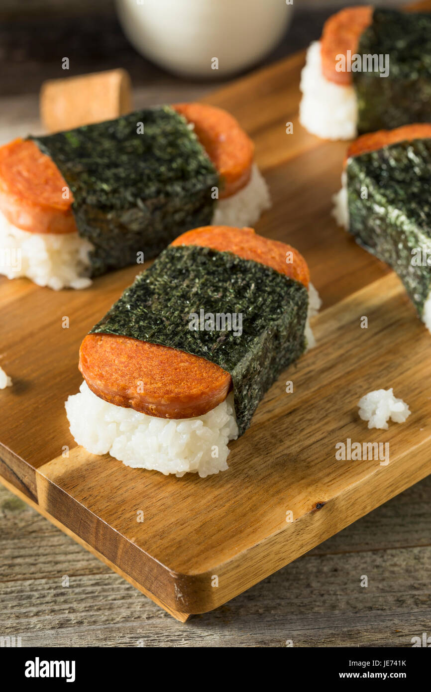 Homemade Healthy Musubi Rice and Meat Sandwich from Hawaii Stock Photo