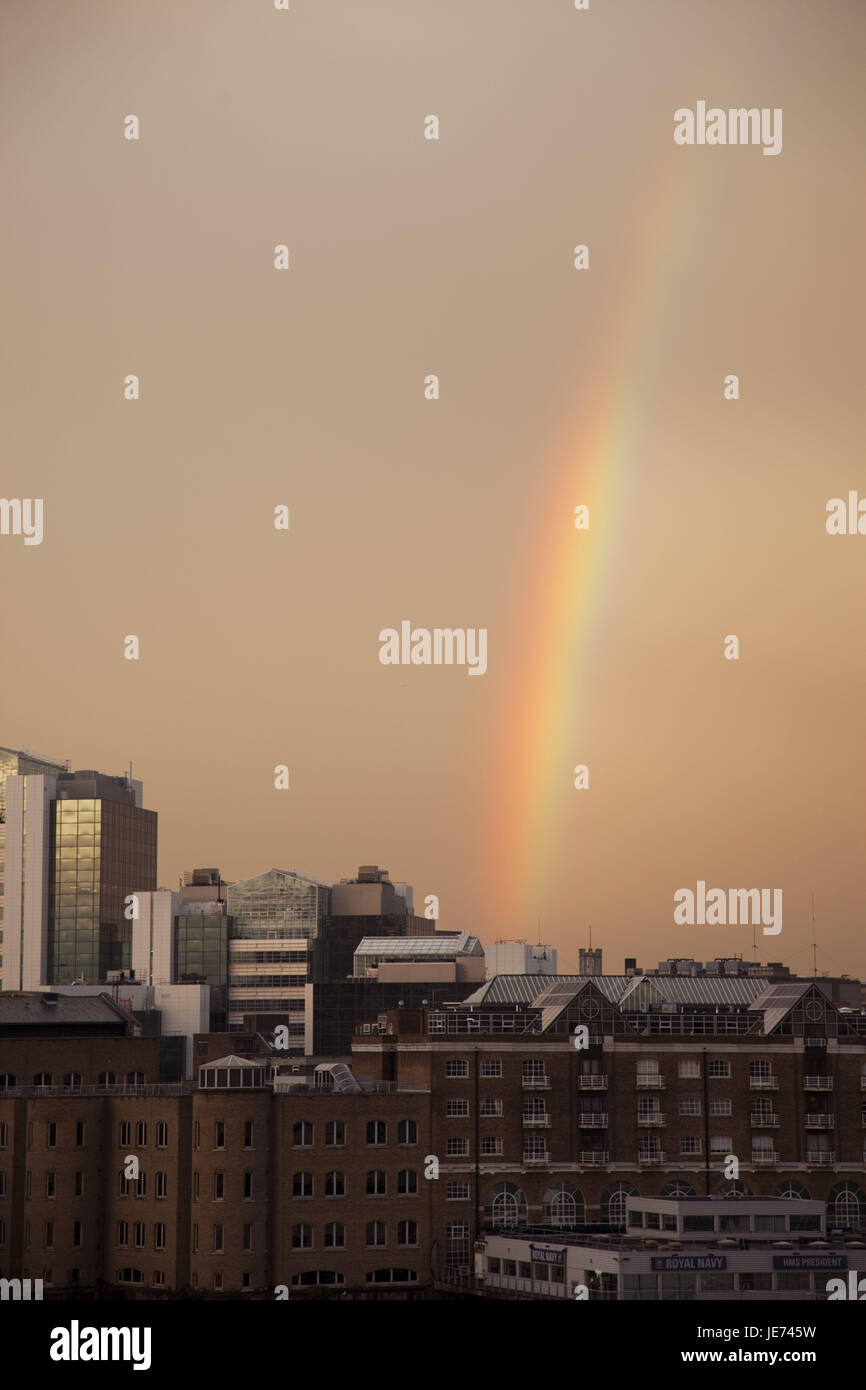 England, London, dock country, rainbow, UK, GB, houses, buildings, financial district, business, architecture, tourism, - Stock Image