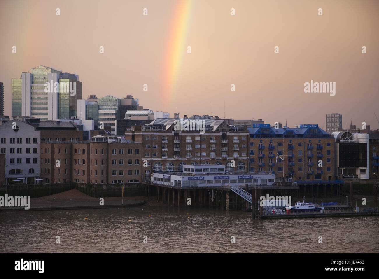 England, London, dock country, the Thames, rainbow, UK, GB, houses, buildings, financial district, business, architecture, - Stock Image