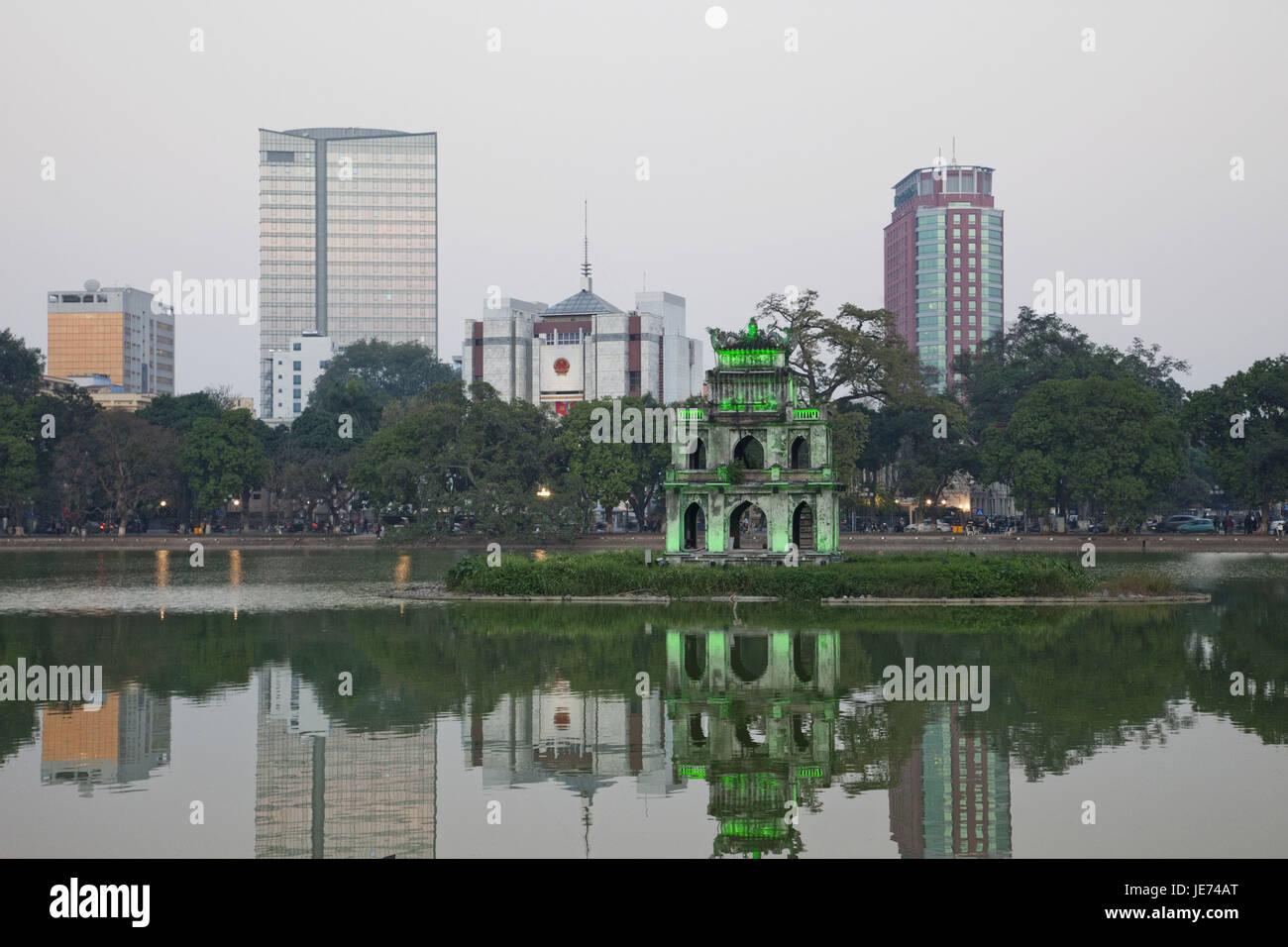 Vietnam, Hanoi, Hoan Kiem lake and tortoise's tower, - Stock Image