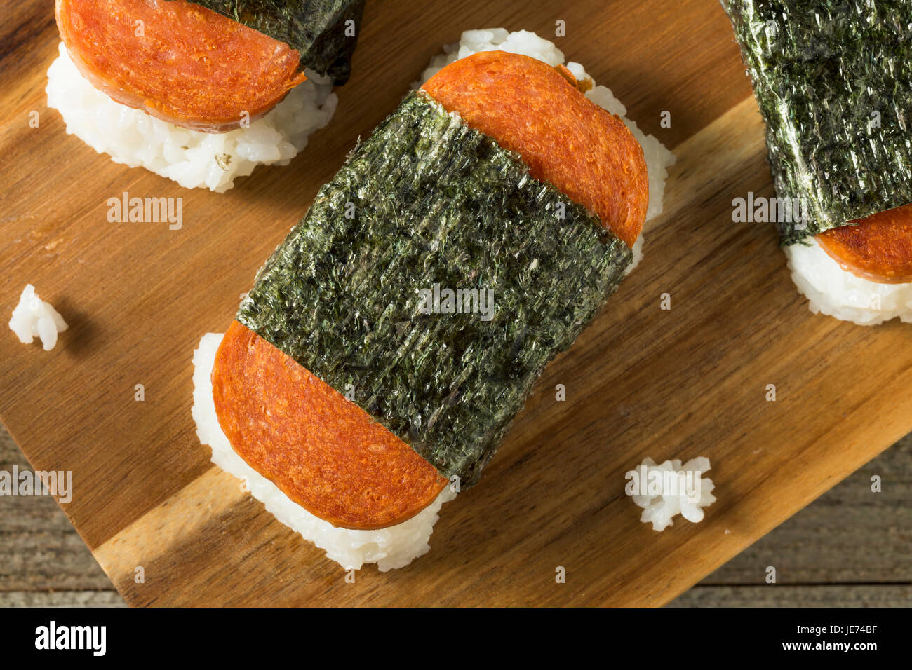 Homemade Healthy Musubi Rice and Meat Sandwich from Hawaii - Stock Image