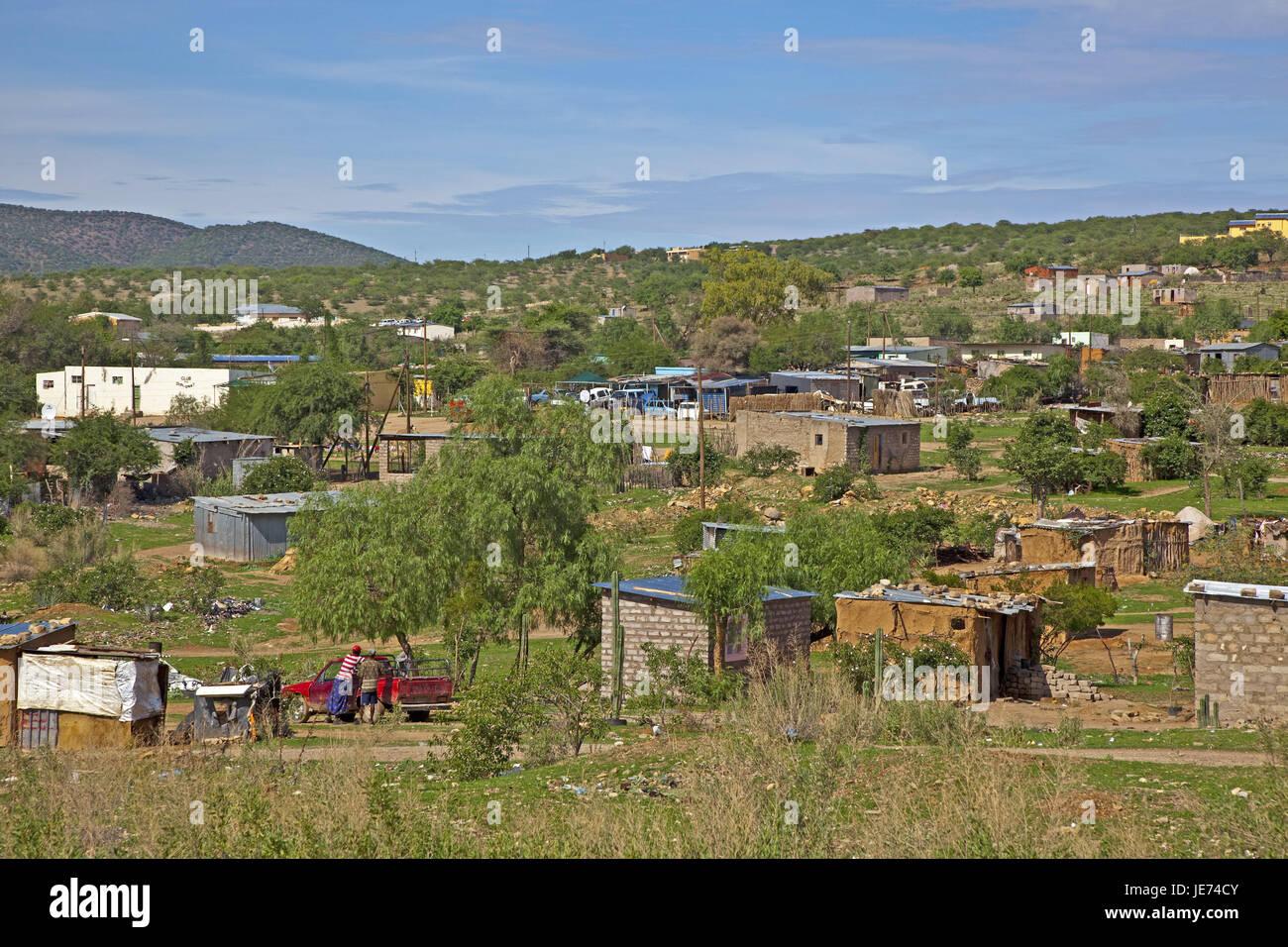 Africa, Namibia, Kunene region, Kaokoveld, Opuwo, South-West Africa, capital, town, Kuneneregion, Himbastamm, houses, - Stock Image