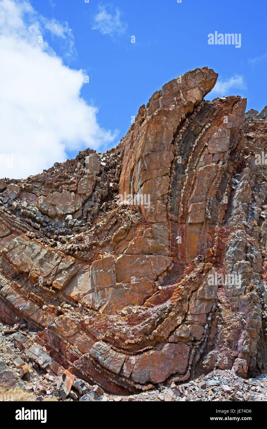 Africa, Namibia, Erongo region, Damaraland, cliff face, South-West Africa, Ugab-Nebental, bluff, rejection, mountain - Stock Image