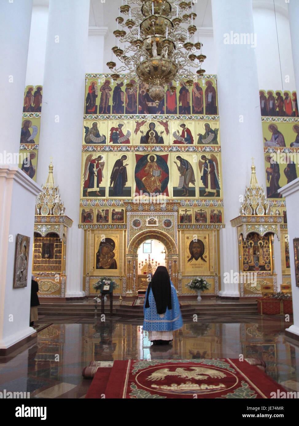 Russia, Jaroslawl, church, inside, priest, person, man, priest, church, altar, golden, Russian-orthodox, architecture, - Stock Image