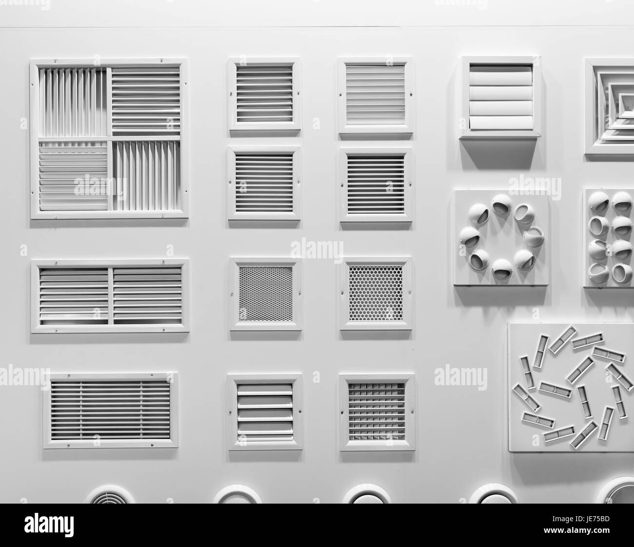 Showcase with plastic grills for house air vents closeup. Forced ...