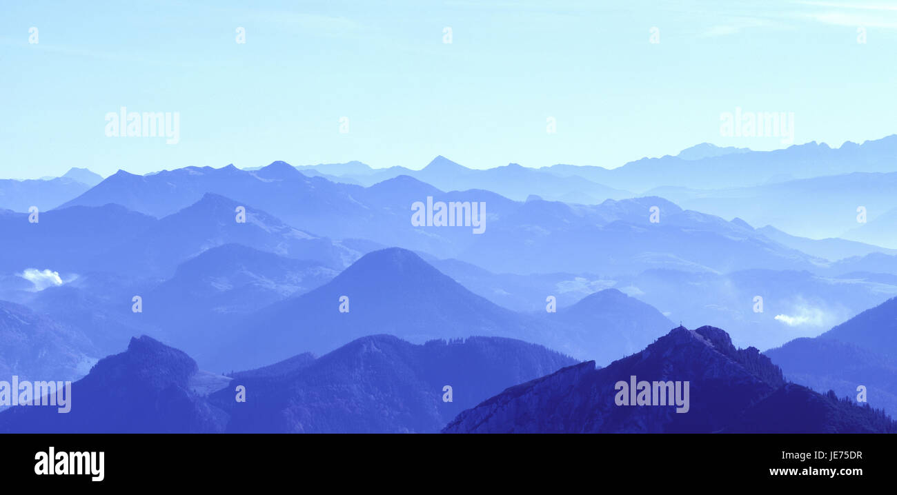 Germany, Bavaria, Bayrischzell, panorama of the coil stone against Berchtesgadener alps, - Stock Image