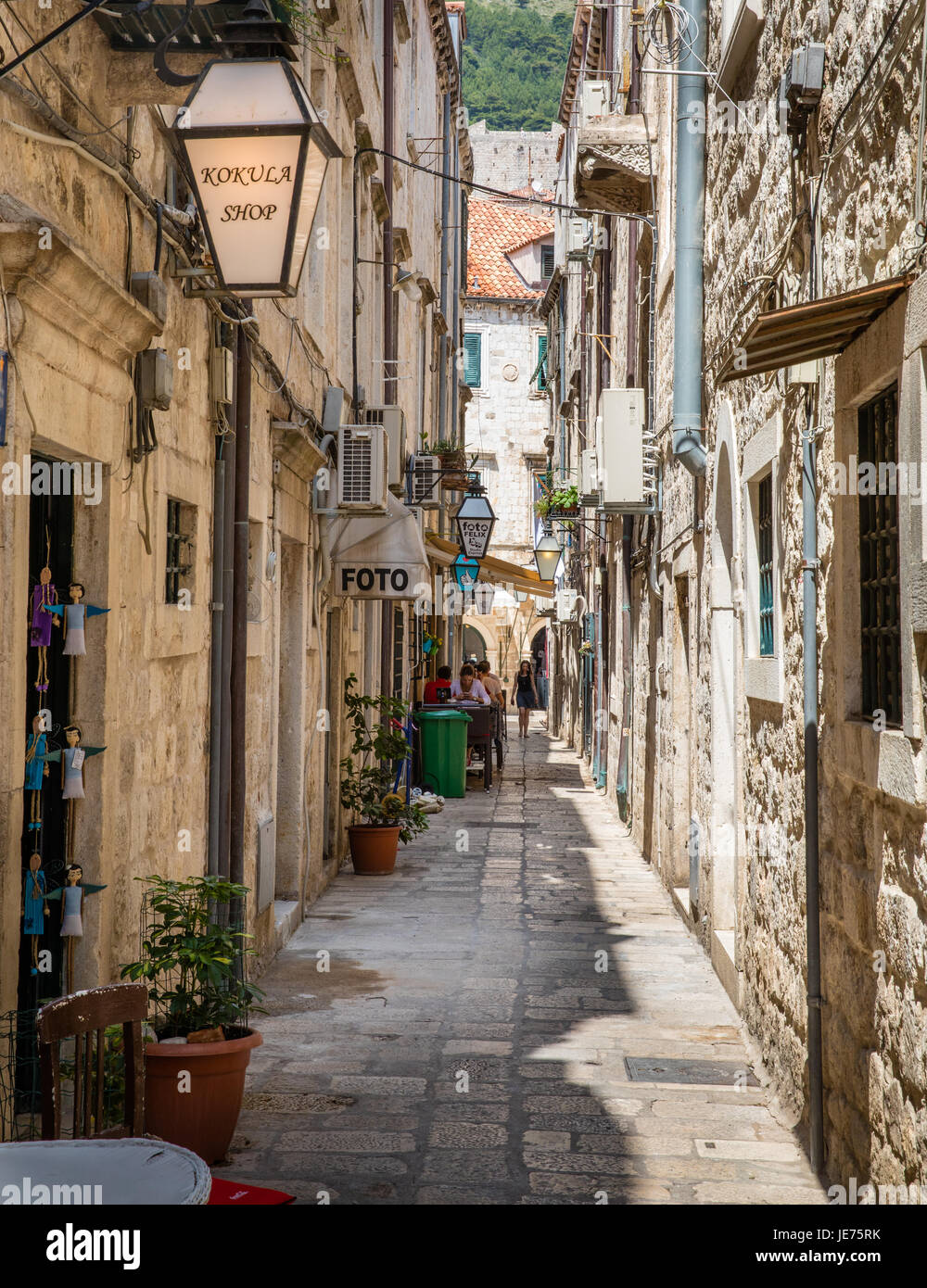 Narrow street in the Old City of Dubovnik on the Dalmatian Coast of Croatia - Stock Image