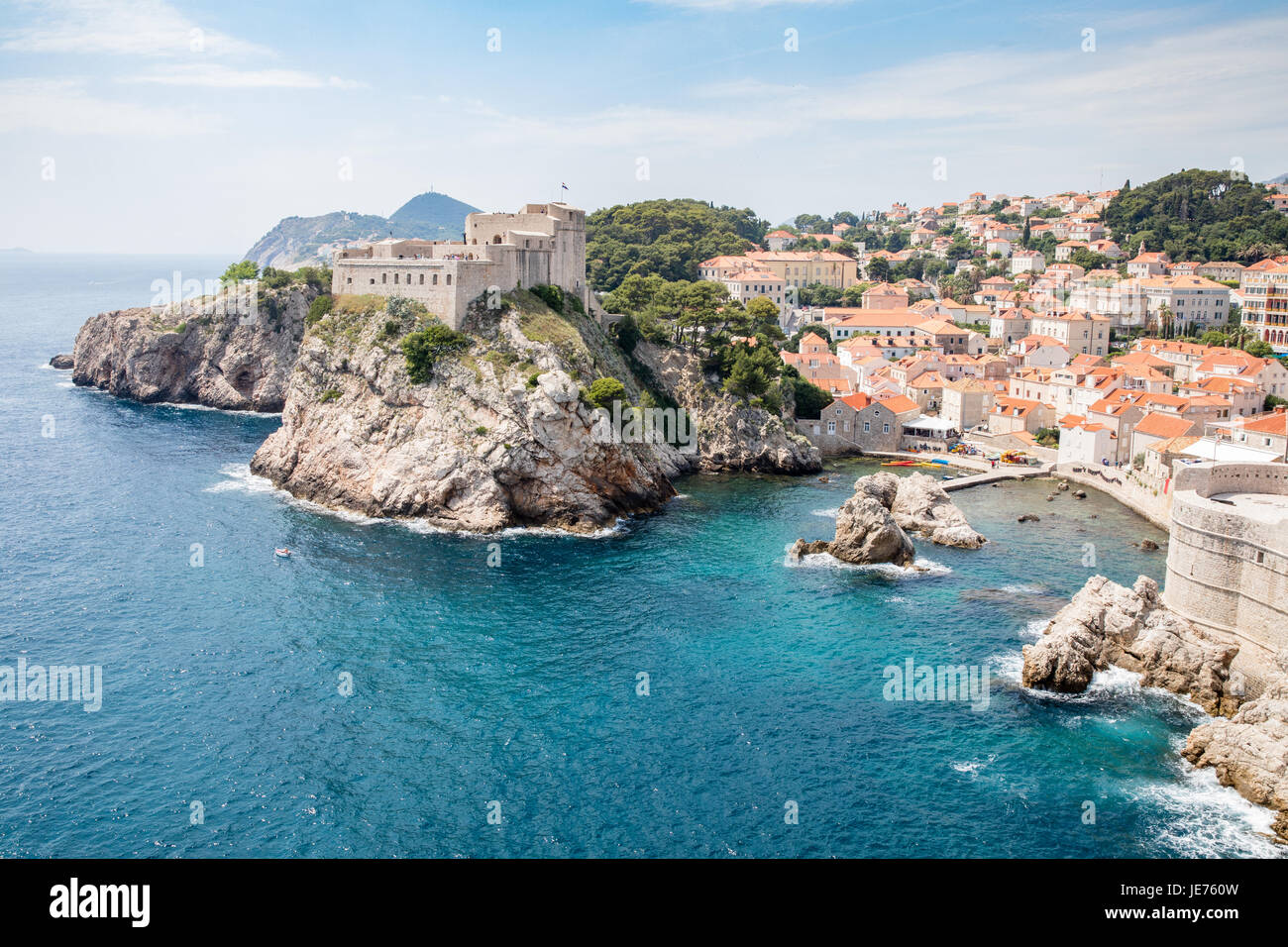 Lovrijenac or St Lawrence Fortress guarding the sheltered cove and northern seaward approach to Dubrovnik old town - Stock Image